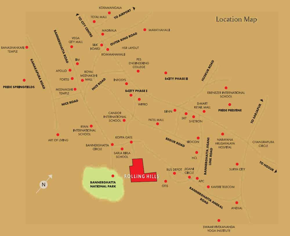 Pride Rolling Hills Phase 2 Location Map